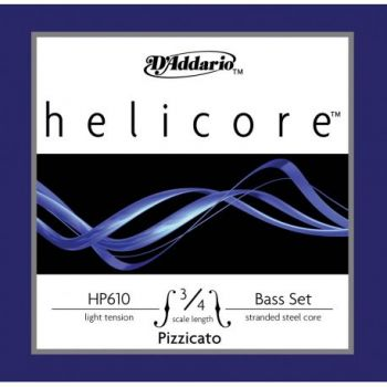 D´addario HP610 Set Cuerda Helicore Pizzicato para Contrabajo 3/4 Tensión Suave
