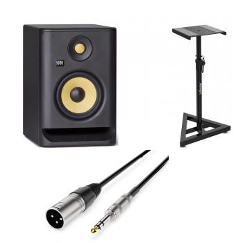 KRK RP5 G4 Monitor Estudio Amplificado. Unidad Negro + Audibax Neo SM1 Soporte suelo + Audibax Silver Cable XLR Macho a Jack Balanceado 3 Metros