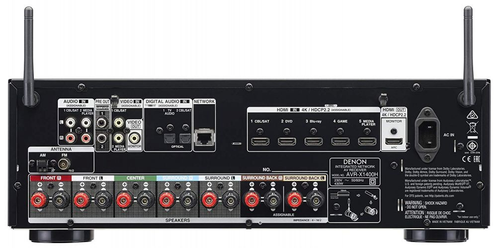 denon AVR X1400H receptor av dolby athmos 120w 7 2 canales wifi conexiones