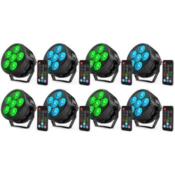 Pack 8 x Audibax Montana 36 Mini RGBw 4 in 1 Foco Led Discoteca 36w + Mando