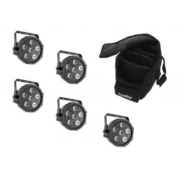Eurolite Set 5 x LED SLS-6 TCL Spot Foco + Soft Bag Bolsa
