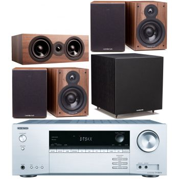 ONKYO TX-NR474 Silver+Cambridge SX50 CINEMA PACK 5.1 Walnut Conjunto Home Cinema