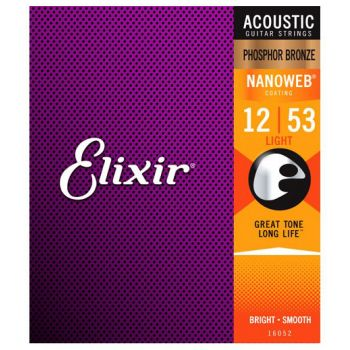 Elixir Nanoweb 16052 Light Phosphor Bronze 12-53