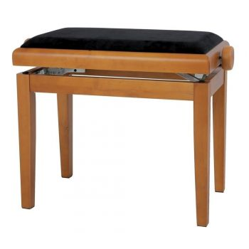 GEWA 130140 Banqueta de Piano Deluxe Roble mate Tapizado negro