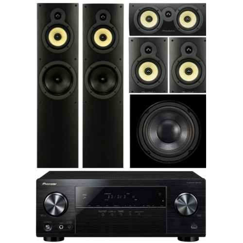 pioneer vsx 531 wharfedale system 4 conjunto home cinema subwoofer WHD8