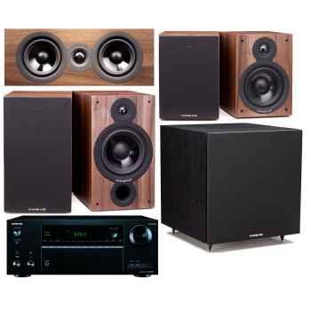 ONKYO TX-NR555 Black + Cambridge SX60 Walnut Cinema Pack 5.1