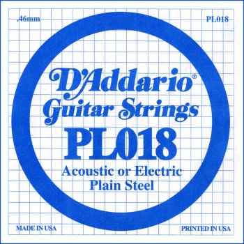D´addario PL018 Cuerda Suelta para Eléctrica y Acústica