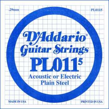 D´addario PL0115 Cuerda Suelta para Guitarra Eléctrica y Acústica