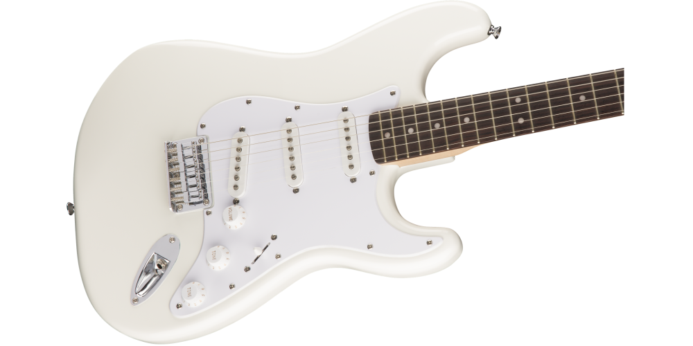 fender squier bullet stratocaster hard tail rosewood fingerboard arctic white cuerdas