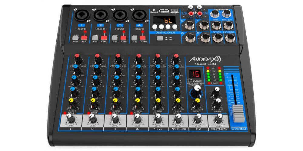 audibax mg08 usb mesa mezclas con bluetooth mp3 8 canales controles