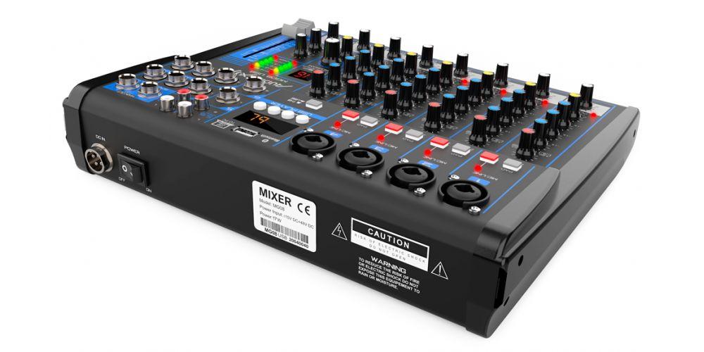 audibax mg08 usb mesa mezclas con bluetooth mp3 8 canales promoción