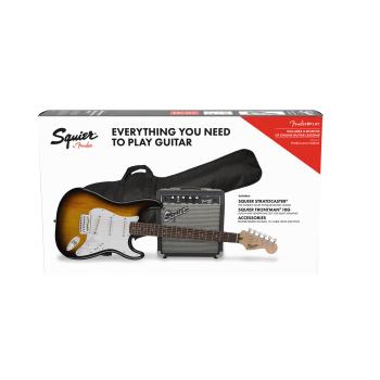 Fender Squier Stratocaster LRL Brown Sunburst + Frontman 10G + Funda + Accesorios Guitarra Eléctrica