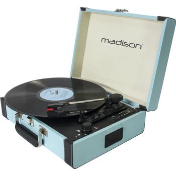 Madison MAD-RETROCASE-BLU Giradiscos Retro con Bluetooth, Usb, Sd y Grabación