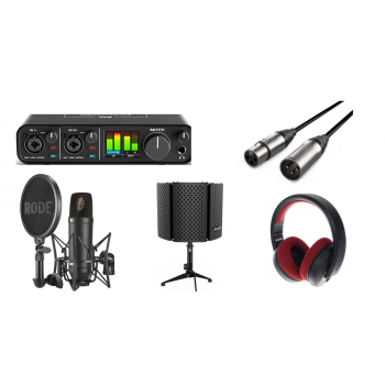 Pack Podcast and Youtuber MOTU M2 con Microfono Rode NT-1 KIT, cable Soporte y Auricular