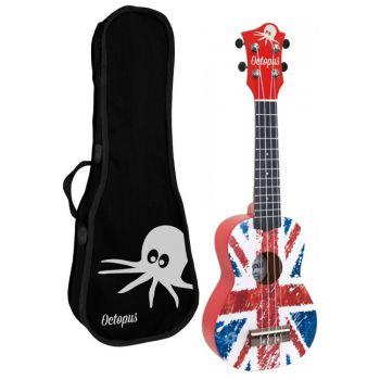 Octopus UK-205 UJR Ukelele Soprano Union Jack Roja con Funda