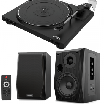 Equipo HiFi Wiibo Giradiscos LYRA 100 + Altavoces Activos Audibax BETA 2BT Bluetooth