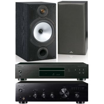 Pioneer A-20K+PD10AE BK+Monitor Audio MR2 BK Conjunto Audio