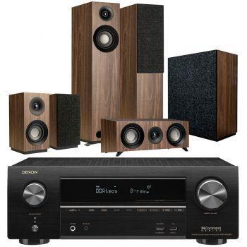Denon Equipo AV AVR-X1600 +Jamo s805 HCS Walnut+S808 Altavoces Home Cinema.