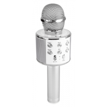 max KM01S Micrófono de Karaoke con Altavoz Incorporado bt/mp3 Plata 130137