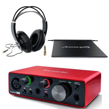 Focusrite Scarlett Solo 3ª Gen Interface Audio + RH10 Auriculares Audibax  Profesionales Estudio
