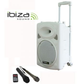 "IBIZA SOUND PORT10VHF-BTW Altavoz 10"" Blanco Bluetooth con batería.-"