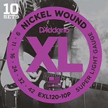 D´addario EXL120-10P Lote de 10 Juegos de cuerdas para Guitarra eléctrica