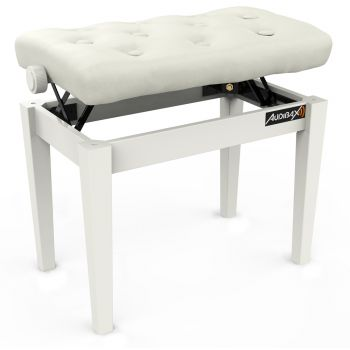 Audibax KB500W Banco Piano / Teclado Ajustable Regulable Acolchado Blanco