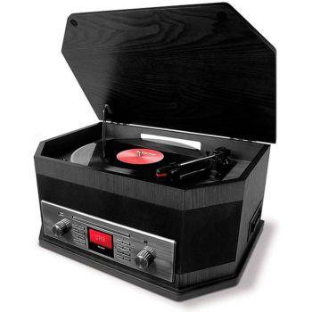 Ion Audio Octave LP Negro Giradiscos Retro con Radio DAB Bluetooth