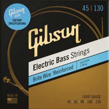 Gibson Long Scale Brite Wire Electric Bass Strings 5-String Roundwound Light Cuerdas para bajo de 5 cuerdas