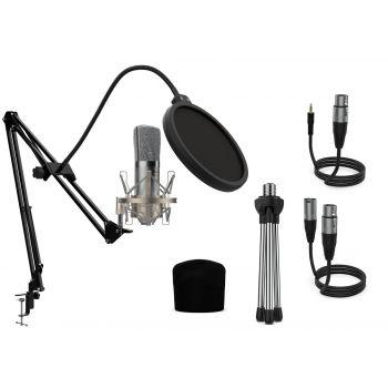 Audibax Berlin 1800 Silver Edition Pro Pack Micrófono Estudio + Soporte + Antipop + Cables