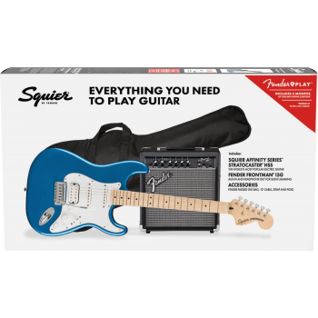 Fender Squier Affinity Series Stratocaster HSS MN Lake Placid Blue + Frontman 15G + Funda Guitarra Eléctrica