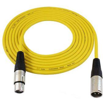 Cable XLR macho - XLR hembra 10 metros Amarillo Audibax