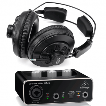 Behringer Interface Audio UM2 U-Phoria Auriculares Estudio Pro Superlux HD669