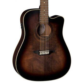 Luna Guitars Art Vintage Dreadnought CW A/E Distressed Vintage Brownburst. Guitarra Electroacústica de 12 Cuerdas