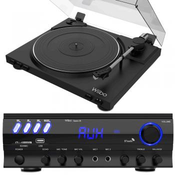 Equipo HiFi Wiibo. Amplificador Bluetooth Opera 30 + Giradiscos LYRA 100 con Capsula Audio Technica
