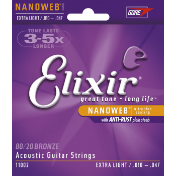 Elixir 11002 NANOWEB 10-47 BRONZE 80/20 XL Juego Cuerdas