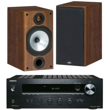 ONKYO TX-8020 B + Monitor Audio MR2 Walnut  Conjunto Audio
