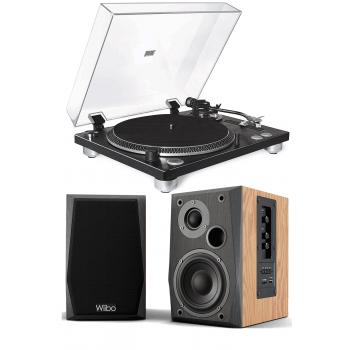 Equipo HiFi Giradiscos Fonestar VINYL 12U Linea / Phono, Capsula Audio Technica + Altavoces Estantería Bluetooth Wiibo NEO 50