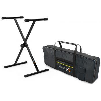 Audibax Onyx Pack Single Soporte de Teclado + Funda Teclado 61 Teclas