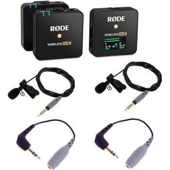 RODE Wireless GO II Sistema de Micrófono Digital Inalámbrico + 2 Rode SmartLav + 2 Rode SC3