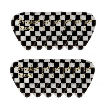 Fender 351 Shape Premium Picks Medium Checker. Pack 12 Puas