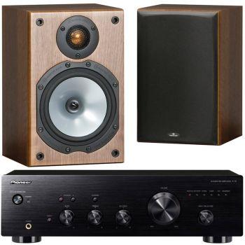 Pioneer A-10K+Monitor Audio MR1 Walnut Conjunto Audio