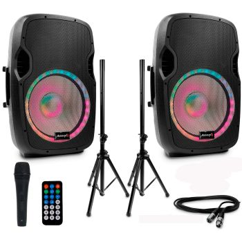 SET 2 Unidades Audibax Party 15 Altavoz Activo Profesional Bluetooth 15