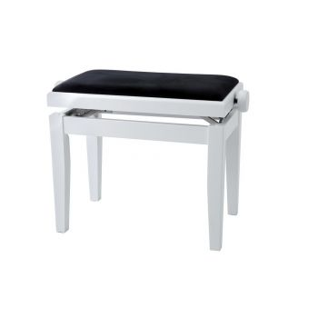 GEWA 130020 Banqueta de Piano Deluxe Blanco mate Tapizado blanco