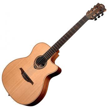 LAG TN170ASCE Guitarra Clásica Electrificada Nylon Auditorium Slim Cutaway Red Cedar - Khaya