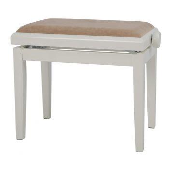 GEWA 130150 Banqueta de Piano Deluxe Marfil brillo Tapizado beige