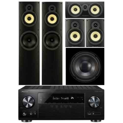 pioneer vsx831 wharfedale system 4 conjunto home cinema subwoofer WHD8