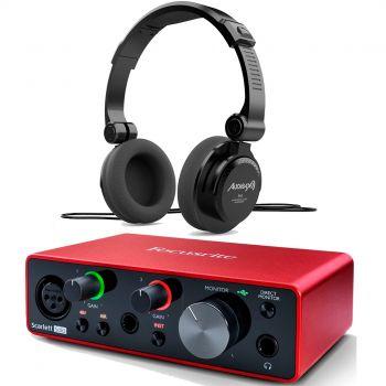 Focusrite Scarlett Solo 3ª Gen Interface Audio + RH5 Auriculares Audibax  Profesionales Estudio