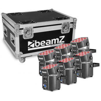 Beamz BBP60 Conjunto Focos, 6pcs en Flightcase con cargador 150587