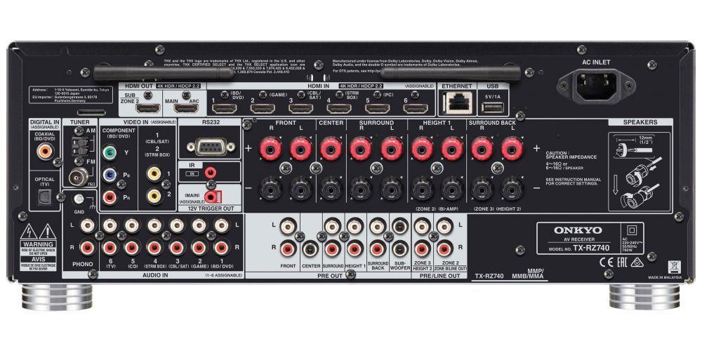 ONKYO TX RZ740 Black Receptor AV 9 2 canales conexiones